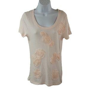 J. Crew Cotton T Shirt Silk Rosettes Pale Pink SM